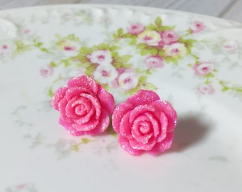 Sparkling Pink Flower Stud, Pink Rose Stud, Glitter Druzy Flower Stud, Surgical Steel Stud, Sugar Coated Flower Stud Earrings (SE9)