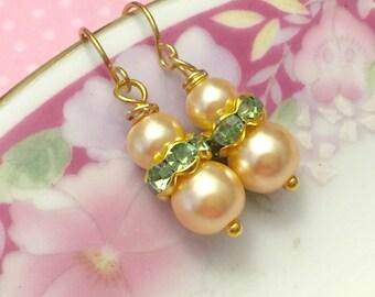 Pearl Wedding Earrings, Flower Girl Earrings, Petite Pearl and Rhinestone Earring, Bridesmaid Gift Earrings, Simple Earrings, KreatedByKelly