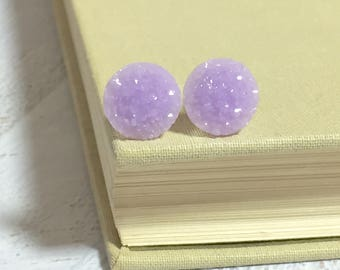 Lavender Druzy Studs, Druzy Stud Earrings, Bumpy Lavender Studs, Surgical Steel Studs, Light Purple Druzy Studs (SE9)