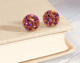 Rose Gold Druzy Studs, Rose Gold Earrings, Faux Druzy Gemstone Stud Earrings, Metallic Studs, Surgical Steel Studs, Druzy Jewelry (SE2)