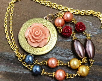 Brass Photo Locket Layering Necklace with Flower Rosary Style Pearl Beaded Chain in Salmon, Grey Blue, Yellow, Purple and Red