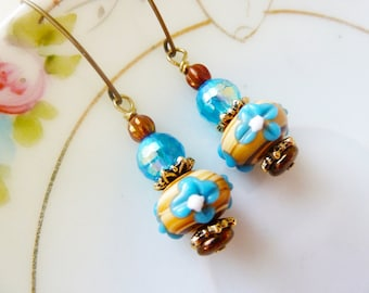 Blue Flower Earrings, Lampwork Bead Earrings, Brown Earrings, Pretty Floral Earrings, Blue Drop Earrings, Handmade by KreatedByKelly