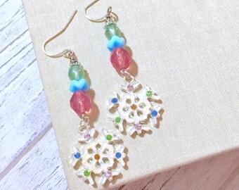 Christmas Earrings, Gorgeous Sparkling Rhinestone Winter Snowflake Earrings Pink Green Blue, Holiday Earrings, Handmade KreatedByKelly (DE2)