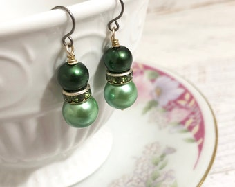 Green Pearl Earrings, Green Rhinestone Earrings, Green Pearl Drop Earrings, Short Dangle Earrings, St Patrick's Day Earrings, KreatedByKelly