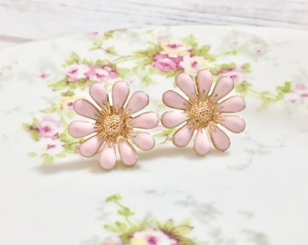 Pink Daisy Stud Earrings, Bohemian Retro, Hippie Flower Power, Enameled Metal, 19mm, Gold Accents