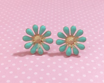 Aqua Daisy Stud Earrings, Bohemian Retro, Hippie Flower Power, Enameled Metal, 19mm, Gold Accents