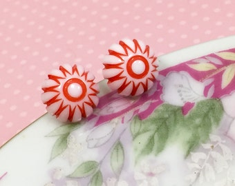 Retro Earrings, Peppermint Stud Earrings, Red Daisy Studs, Red Starburst Gumdrop Studs, Vintage Cabochon Stud, Stainless Steel (SE3)
