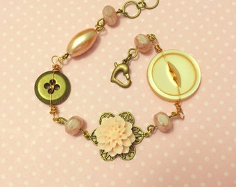 Assemblage Bracelet, Pink Flower Bracelet, Vintage Button Jewelry, Czech Glass Bead Bracelet, Handmade By KreatedByKelly