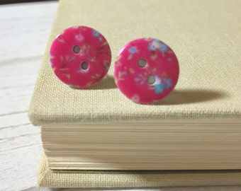 Pink Flower Button Studs, Pink Floral Studs, Limoges Style Studs, Button Jewelry, Surgical Steel Studs, Floral Studs (SE2)