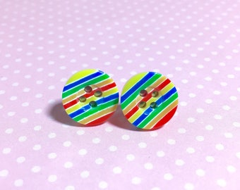 Rainbow Stripe Earrings, Button Stud Earrings, Stripes Stud Earrings, Colorful Stripes Stud Earrings, Sewing Button Studs
