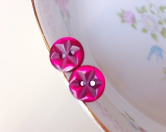 Fuchsia Earrings, Small Post Earrings, Surgical Steel Posts, Cute Sewing Button Earrings, Crafty Friend Gift, Small Button Flower Posts