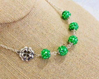 Fun Sparkling Green Resin Rhinestone Ball Beaded Necklace with Four Leaf Clover Necklace for St. Patrick's Day