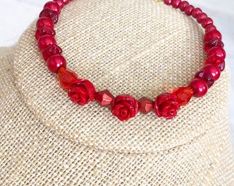 Red Beaded Bracelet Made with Carved Roses, Glass Pearl Beads and Vintage Czech Glass Beads