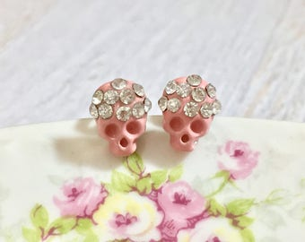 Tiny Pink Rhinestone Studded Enameled Metal Skull Stud Earrings for Halloween with Surgical Steel Posts