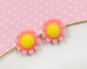 Pink Daisy Studs, Pink Flower Earrings, Flower Girl Earring, Sensitive Ear Stud, Pink Sunflower Stud, Bridesmaid Gift, KreatedByKelly (SE3)