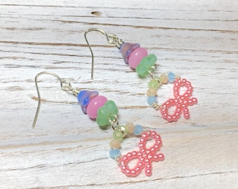 Quirky Pink Bow Earrings, Pastel Beaded Earrings, Unique Girlie Earrings, Lolita Earrings, Rockabilly Earrings, KreatedbyKelly