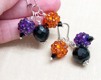 Sparkling Resin Rhinestone and Blass Bead Cluster Dangle Earrings in Orange, Purple and Black for Halloween, Stainless Steel (LB7)