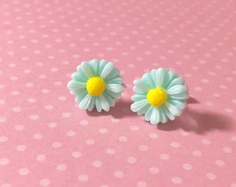 Aqua Daisy Studs, Aqua Daisy Earrings, Aqua Gerbera Daisy Studs, Surgical Steel Studs, Bridesmaid Stud Earrings, Aqua Flower Earrings (LB3)