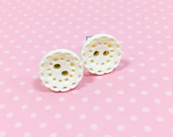 Vintage Button Studs, Lace Button Earrings, White Studs, Retro Button Studs, Pierced Button Studs, Button Jewelry by KreatedByKelly