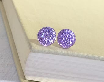 Little Light Purple Lavender Sparkling Bumpy Druzy Round Circle Stud Earrings with Surgical Steel Posts (SE13)