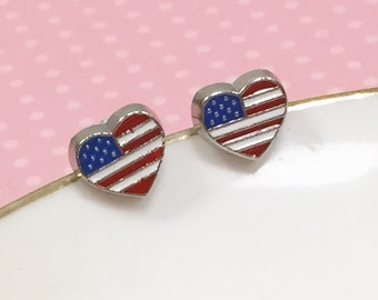 Heart Flag Earrings, United States Flag Studs, USA Pride Earrings, Independence Day Studs, 4th of July Studs, Red White and Blue