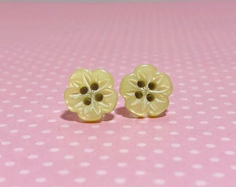 Heavily Carved Iridescent Yellow Five Petal Flower Sewing Button Stud Earrings with Surgical Steel Posts (LB1)
