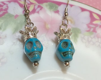 Day of the Dead Earrings, Pirate Princess Sugar Skull Earrings, Dia de Los Muertos Jewelry, Turquoise Skull Earrings, Fun Halloween Earrings