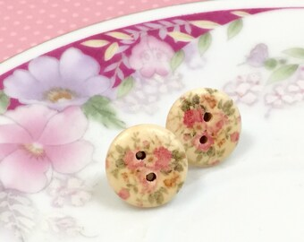 Pink Cottage Roses on Natural Wood Stud Earrings with Surgical Steel Posts