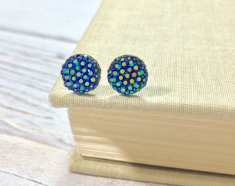 Small Blue Druzy Studs, Iridescent Starry Night Sky Studs, Bug Eyes Studs, Blue on Black Studs, Bumpy Studs, Surgical Steel Studs (SE10)