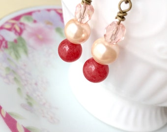 Coral Dangle Earrings, Pretty Peach Pink Beaded Earrings, Affordable Gift Idea, Short Dangle Earrings, Handmade by KreatedByKelly