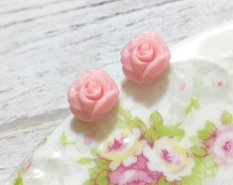 Tiny Rose Studs, Light Pink Rose Earrings, Pink Flower Earrings, Rose Studs, Tiny Flower Studs, Flower Girl Earrings, Surgical Steel Studs