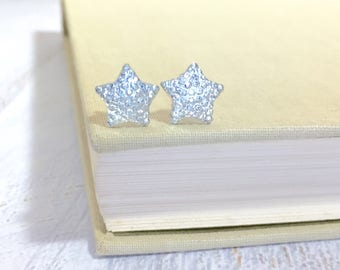 Small Sparkling Bumpy Druzy White Clear Celestial Star Stud Earrings with Surgical Steel Posts (SE13)