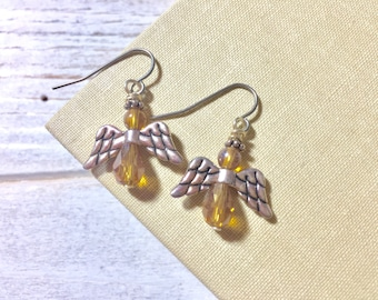 Dainty Angel Earrings, Yellow Angel Earrings, Glass Beaded Angel Earrings with Tibetan Silver Wings, Tiny Angel Earrings, Surgical Steel