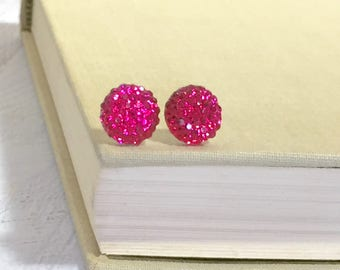 Little Bright Pink Sparkling Bumpy Druzy Round Circle Stud Earrings with Surgical Steel Posts (SE13)