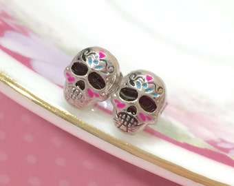 Small Painted Metal Sugar Skull Stud Earrings, Creepy Day of the Dead Halloween Jewelry