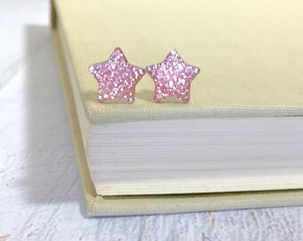 Small Sparkling Bumpy Druzy Light Pink Celestial Star Stud Earrings with Surgical Steel Posts (SE13)