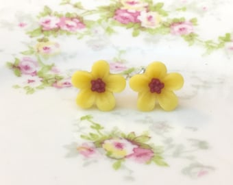 Yellow Daisy Studs, Yellow Flower Earrings, Small Yellow Flower Studs, Surgical Steel Studs, KreatedByKelly (SE3)