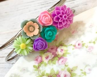 Floral Assemblage Cuff Bracelet, Pastel Flowers Cuff Bracelet, Woodland Bracelet, Nature Bracelet, Pink Purple Mint Green, KreatedbyKelly