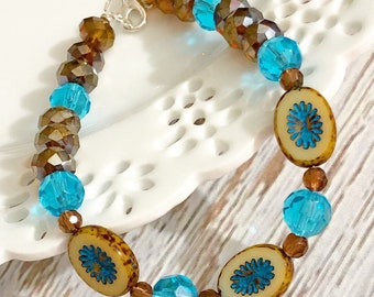 Brown and Sky Blue Flower Czech Glass Beaded Bracelet with Lobster Clasp Closure