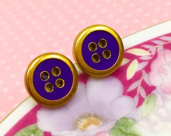 Vintage Button Studs, Brass Rimmed Royal Blue Button Studs, Button Stud Earrings, Crafty Friend Gift Idea, Sewing Button Earrings (SE7)