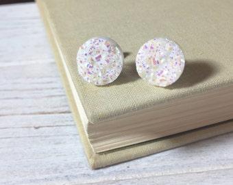 White Druzy Studs, Sparkling White Stud Earrings, Glistening Snowball Studs, Sparkling Snow Studs, Glittery Snow Studs, Christmas Stud (SE9)