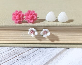 Pretty Earring Set, Pink Lotus Flower Studs, Faceted White Heart Stud, White Ceramic Flower Stud, Stocking Stuffer Idea, Cute Gift Set (ES1)