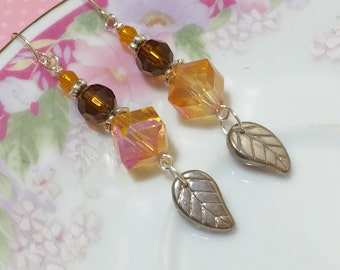 Czech Glass Leaf Earrings, Iridescent Fall Earrings, Autumn Orange Brown Earrings, Brown Leaf Earrings, Surgical Steel, KreatedByKelly