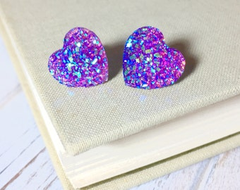 Purple Heart Earrings, Valentine's Earrings, Faux Purple Druzy Heart Studs, Sparkly Earrings, Flower Girl Earrings, KreatedByKelly (SE1)