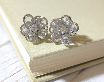 Clear Rhinestone Flower Studs, Vintage Style Stud Earrings, Retro Hollywood Glam Studs, Surgical Steel, Chunky Flower Studs, KreatedbyKelly