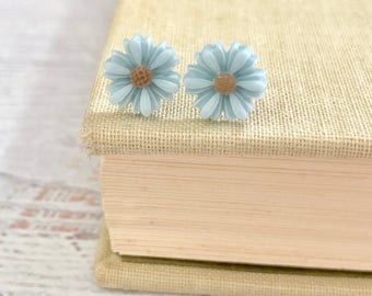 Little Blue Gerbera Daisy Stud Earrings with Surgical Steel Posts (SE18)