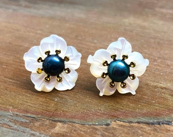 Pearl Flower Studs, Bridal Flower Studs, Wedding Pearl Earrings, Pearl Flower Earrings, Carved Flower Studs, KreatedByKelly (HJ3)