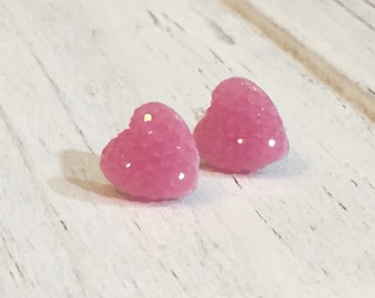 Purple Pink Sparkly Heart Studs, Purple Heart Studs, Kawaii Studs, Sugar Coated Candy Heart Studs, Little Heart Studs, Valentine's Day (SE4)