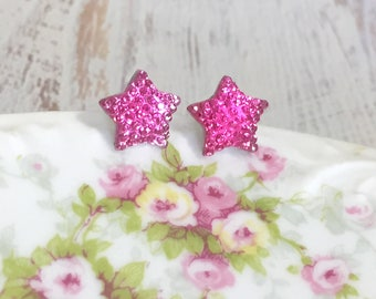 Small Sparkling Bumpy Druzy Pink Celestial Star Stud Earrings with Surgical Steel Posts (SE13)
