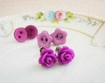 Stud Earrings Set, Purple Flower Earrings, Purple Daisy Stud, Purple Pearl Button Stud, Purple Rose Stud, Surgical Steel Studs (ES1)